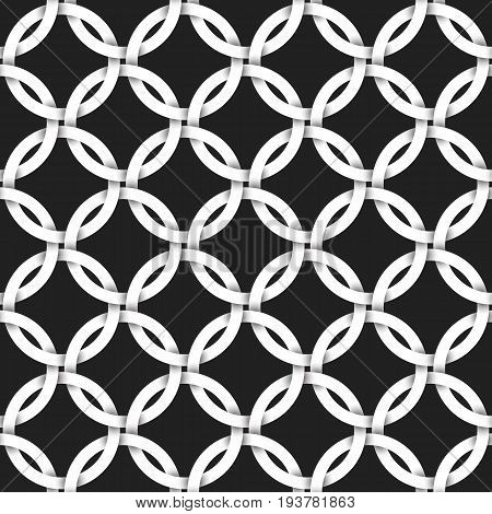 Repeatable background of white vintage pattern lattice. Swatch of intertwined rings. Volumetric seamless pattern in modern style.