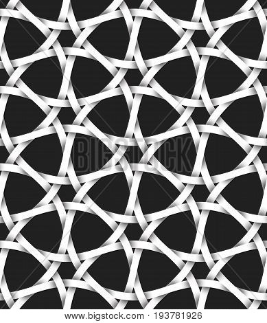 Repeatable background of white vintage hexagon pattern lattice. Swatch of intertwined bands. Volumetric seamless pattern in modern style.