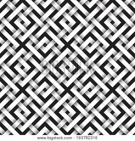 Abstract repeatable pattern background of white twisted strips. Swatch of intertwined square bands. Volumetric seamless pattern in modern style.