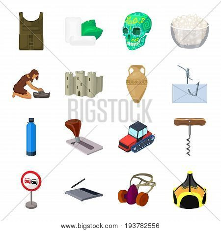 Computer, transportation, army and other  icon in cartoon style.Parking, food, dentistry icons in set collection.