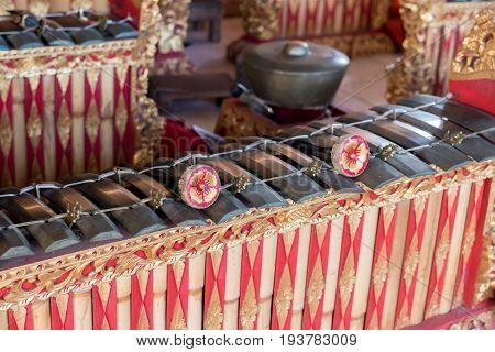 Traditional Balinese music instrument gamelan. Bali island.