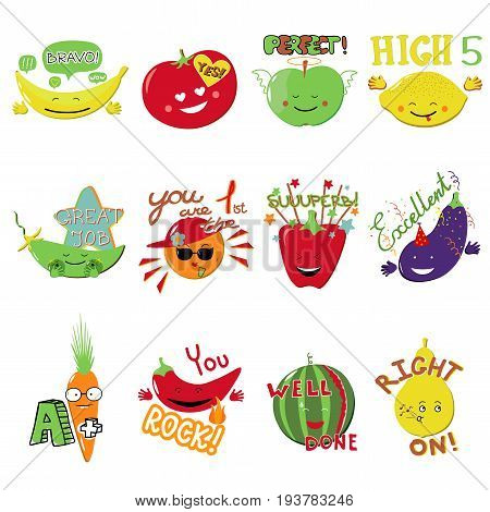 Achievement school Labels, kindergarten encourage reward stickers. Emoji fruits and vegetables