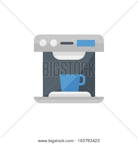 Flat coffee machine icon. Vector illustration isolated on a white background. Simple color pictogram of coffee machine.