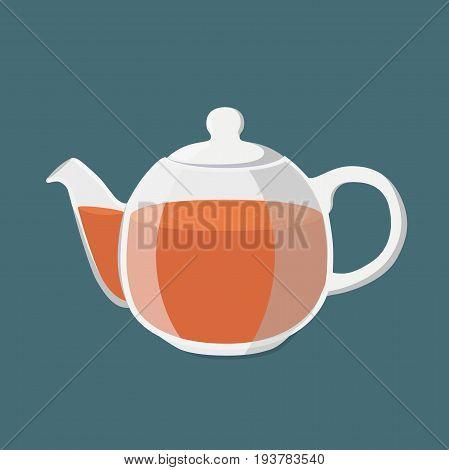 Black tea, hot drink.  Transparent teapot with golden brown tea, teakettle. Made in cartoon flat style. Vector illustration