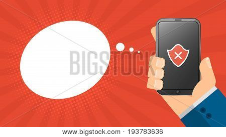 A cartoon man holds a broken phone in his hand. Empty cloud for text. A red shield on the screen. High-tech phone. Cartoon style. Vector illustration