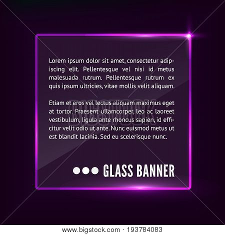 Shiny glass banner with reflections isolated on dark pink background, vector realistic illustration