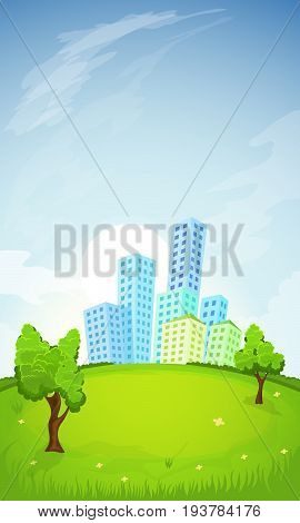 Cartoon illustration of the rural summer landscape with city on background