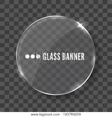 Round glass banner realistic vector illustration isolated on transparent background