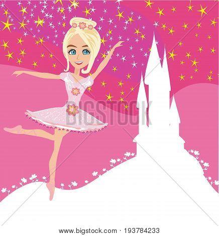 Beautiful ballerina and Magic Castle , vector illustration