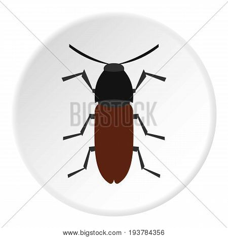 Brown bug icon in flat circle isolated vector illustration for web