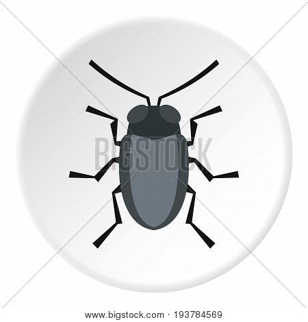 Small bug icon in flat circle isolated vector illustration for web