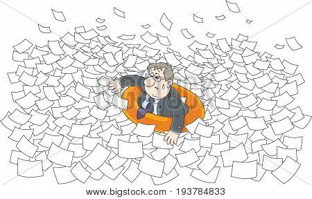 Clerk in a lifebuoy among waves in sea of paper