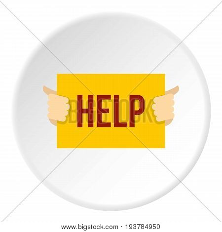 Help icon in flat circle isolated vector illustration for web