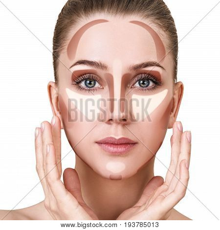 Young woman with sample contouring and highlight makeup on face.