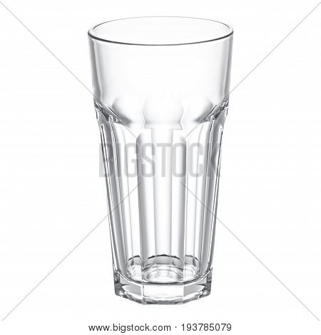 Empty faceted glass  on a white background