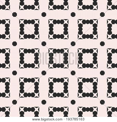 Monochrome geometric seamless pattern, vector background with angular geometric shapes, jagged figures, squares, stars, octagons. Simple repeat texture for decor, prints, fabric, furniture, textile.
