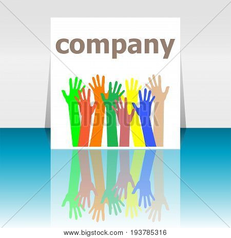 Text Company. Business Concept . Human Hands Silhouettes