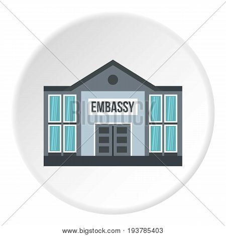 Embassy icon in flat circle isolated vector illustration for web