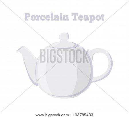 Vector illustration of teapot. Porcelain white teakettle. Made in cartoon flat style