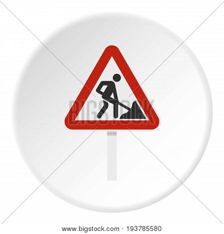 Roadworks sign icon in flat circle isolated vector illustration for web
