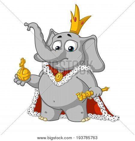Big collection vector cartoon characters of elephants on an isolated background. The proud king