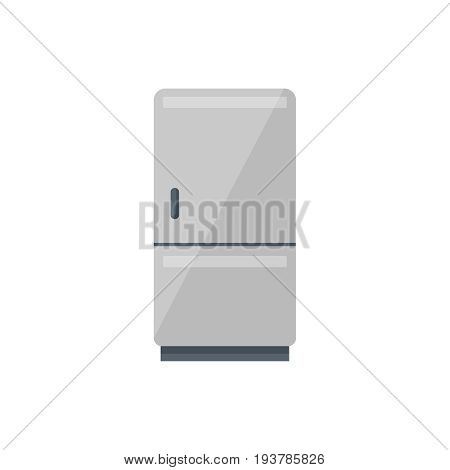 Flat refrigerator icon. Vector illustration isolated on a white background. Simple color pictogram of refrigerator.