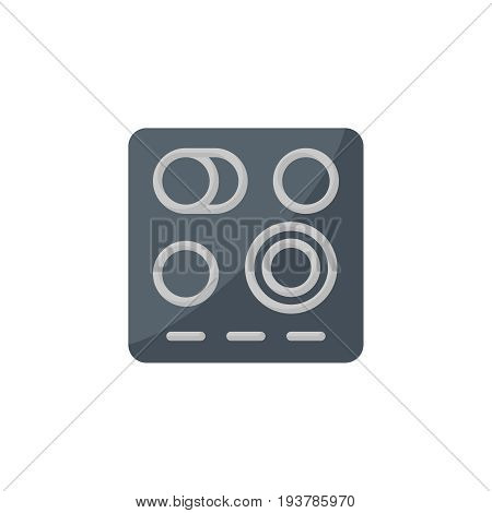 Flat electric stove icon. Vector illustration isolated on a white background. Simple color pictogram of electric stove.