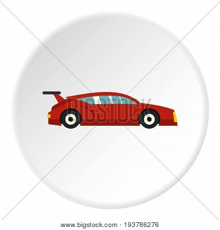 Red car icon in flat circle isolated vector illustration for web