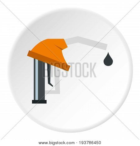 Orange gasoline pump nozzle icon in flat circle isolated vector illustration for web