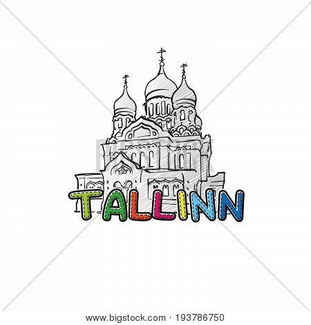 Tallinn Beautiful Sketched Icon