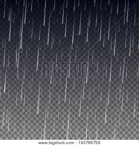 Rain isolated on transparent background. Realistic rain drops. Vector illustration. Eps 10.