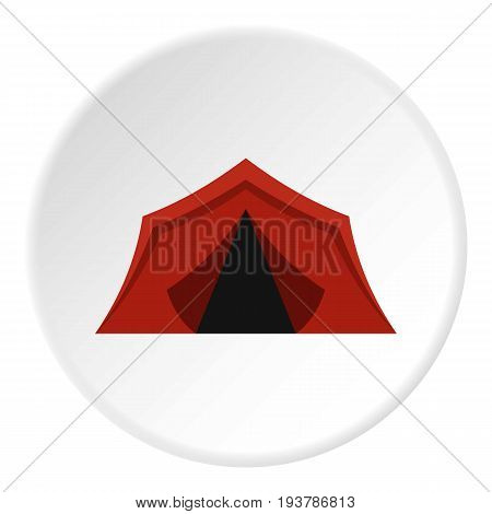 Camping tents icon in flat circle isolated vector illustration for web