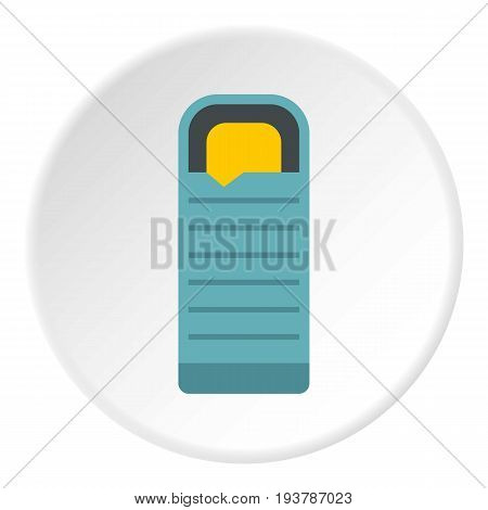 Blue sleeping bag icon in flat circle isolated vector illustration for web