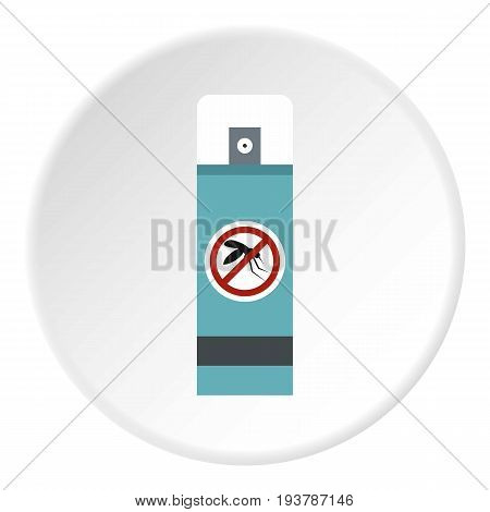 Mosquito repellent spray icon in flat circle isolated vector illustration for web