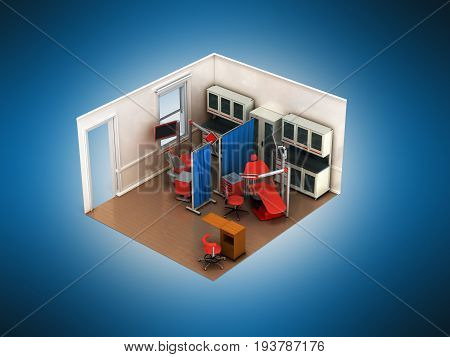Isometric Dental Beige Room 3D Rendering On Blue Background