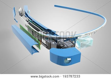 Interactive Glasses Disassemble In Parts 3D Render On Grey Background