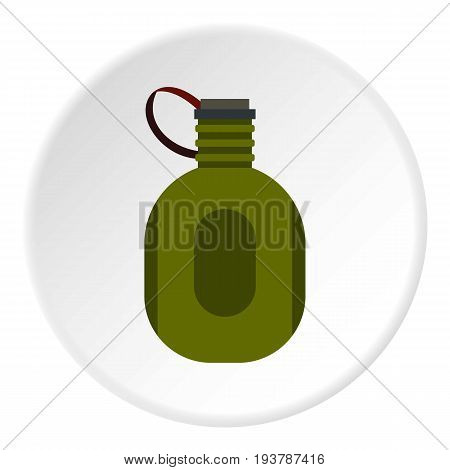 Water canteen icon in flat circle isolated vector illustration for web