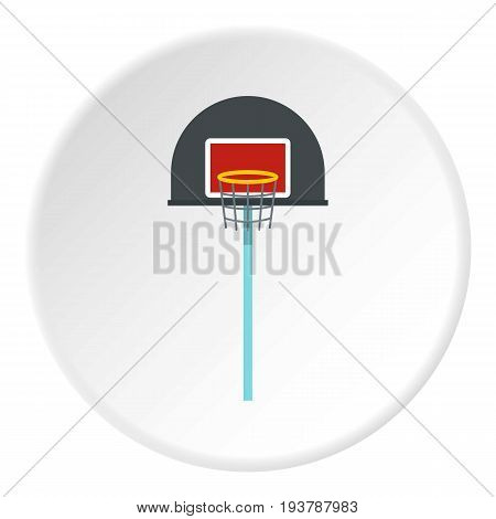 Basketball hoop icon in flat circle isolated vector illustration for web