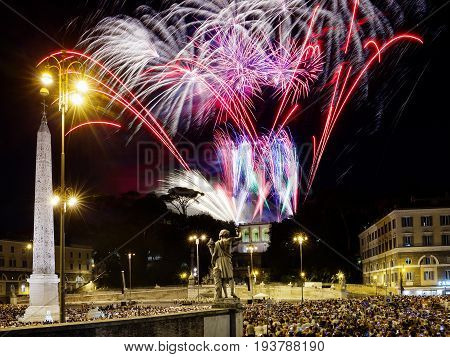 Fireworks in Piazza del Popolo in Rome on the occasion of the patron Saint Peter and Paul.