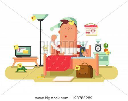 Reminder stick on furniture room. Note paper label, remind sheet sticky, attach memo, vector illustration