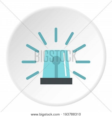 Blue flashing emergency light icon in flat circle isolated vector illustration for web