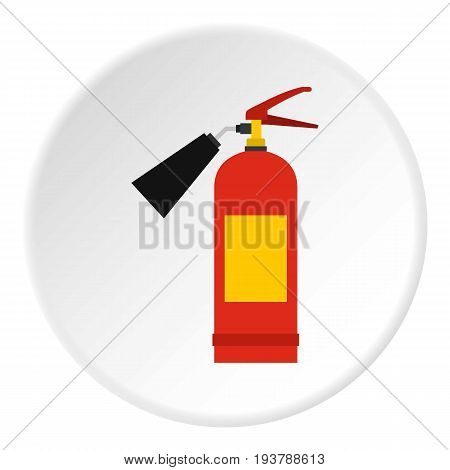 Red fire extinguisher icon in flat circle isolated vector illustration for web