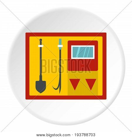 Flat illustration of fire shield with fire extinguishing tool vector icon in flat circle isolated vector illustration for web