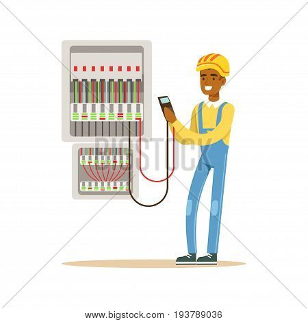Electrician engineer measuring the voltage output in fuse box, electric man performing electrical works vector Illustration isolated on a white background