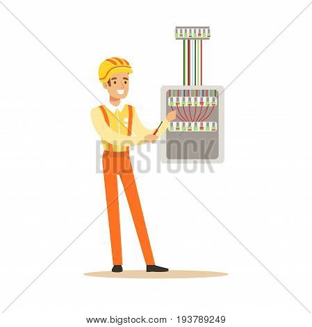 Smiling electrician screwing equipment in fuse box, electric man performing electrical works vector Illustration isolated on a white background