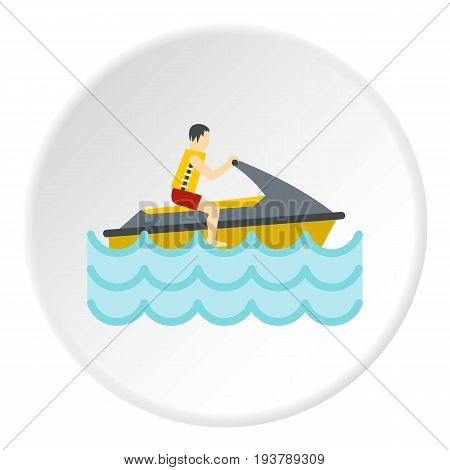 Jet ski rider icon in flat circle isolated vector illustration for web