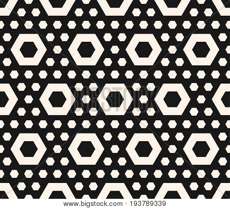 Vector hexagonal texture, geometric seamless pattern with perforated hexagon shapes, simple figures. Abstract repeating geometrical background. Stylish dark design for prints, decor, covers, package.
