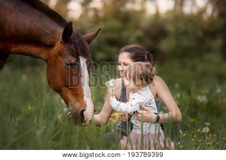 Mother and daughter with  horse walking on summer field