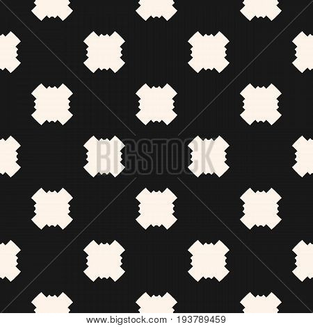 Simple funky style vector. Seamless pattern with square crosses in staggered grid. Abstract monochrome background. Stylish dark repeat texture. Design element for prints, fabric, decor, package, wrap.