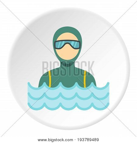Scuba diver man in diving suit icon in flat circle isolated vector illustration for web